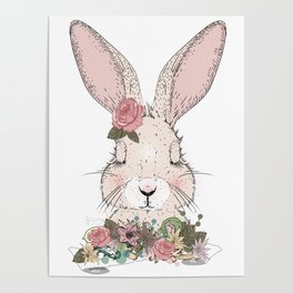 dreaming rabbit with floral ornament Poster