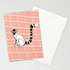 Lemur Animal on  pink pattern Stationery Cards
