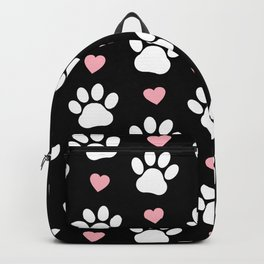 Dog Paws, Traces, Animal Paws, Hearts - Pink Black Backpack