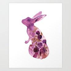 Fruit Bunny with Blackberries Art Print