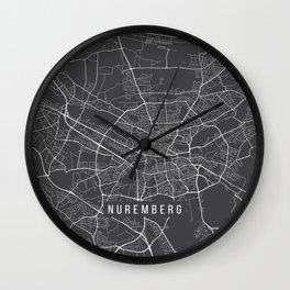 Nuremberg Map, Germany - Gray Wall Clock
