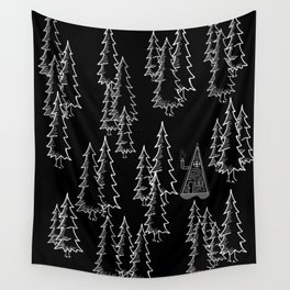 Lost in the wood, a lonely cabin (revers) Wall Tapestry
