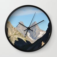 twin peaks Wall Clocks featuring Twin Peaks by Jérémy Boes