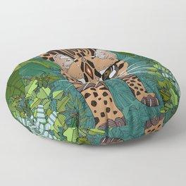 ocelot jungle green Floor Pillow