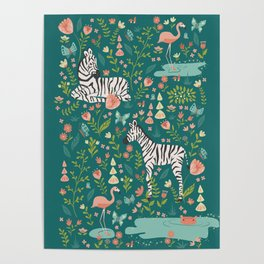 Wild Zebras in Green Garden Poster
