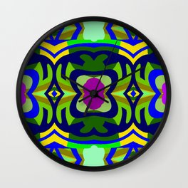 Playground on Fuchsia,Blue,Green,Yellow,Gold Wall Clock
