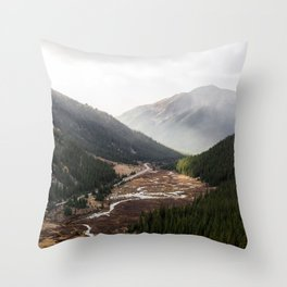 Clouds Rolling in Over Rocky Mountain Pass Throw Pillow