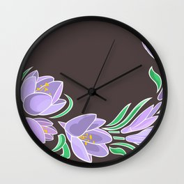 Abstract crocuses with grey background Wall Clock