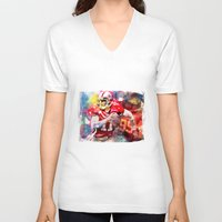 sport V-neck T-shirts featuring sport art- american football by yossikotler