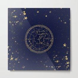 Metallic Gold Vintage Star Map 3 Metal Print