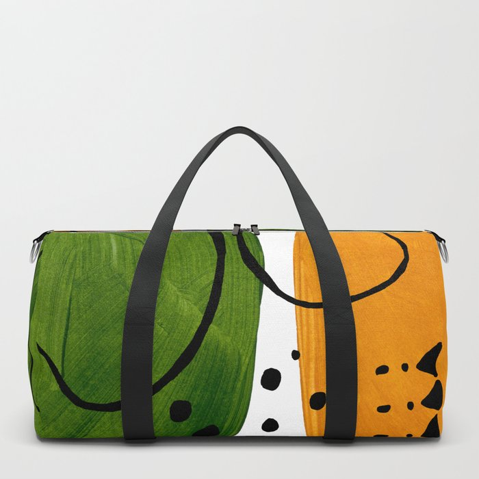 Modern Mid Century Fun Colorful Abstract Minimalist Painting Olive Green Yellow Ochre Buns Duffle Bag