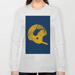 West Virginia Football Helmet State Map Vintage Long Sleeve T-shirt