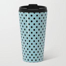 Small black polka dots on a light blue background. Travel Mug