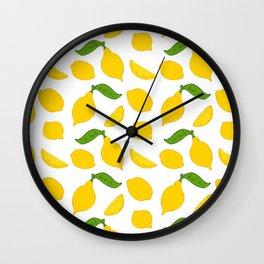Meyer Lemons on White Wall Clock