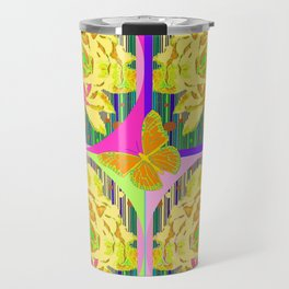 Yellow Summer Monarch  Butterfy Rose Abstract Travel Mug
