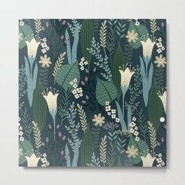 Wonderful Mid-Century Style Evening Lily And Wildflower Pattern Metal Print