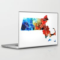 patriots Laptop & iPad Skins featuring Massachusetts - Map Counties By Sharon Cummings by Sharon Cummings