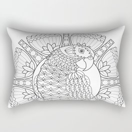 Parrot Mandala - Color Your Own Coloring Art Rectangular Pillow