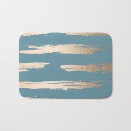 Abstract Painted Stripes Gold Tropical Ocean Blue Bath Mat