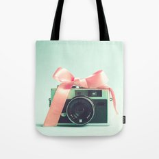 Retro Camera and Pink Bow II Tote Bag