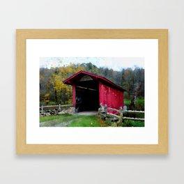 KISSING COVERED BRIDGE Framed Art Print