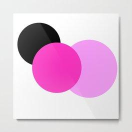 Pink Orchid Black Mod Circles Metal Print