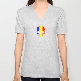 Flag of Romania on a Chaotic Splatter Skull Unisex V-Neck