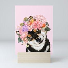 Black Shiba Inu with Flower Crown Pink Mini Art Print