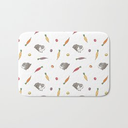 Carrot and Silkie Guinea Pig pattern in White Background Silkie Guinea Pigs illustration Bath Mat
