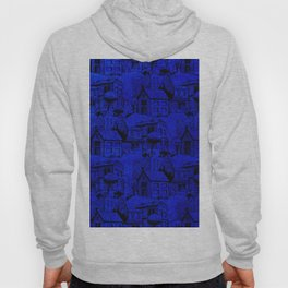 V25 Blue Architecture Design Traditional Moroccan Rug Background. Hoody