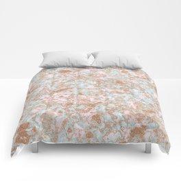 Mint Blush & Rose Gold Metallic Marble Texture Comforters
