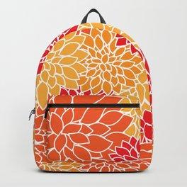 Dahlia Flowers, Petals, Blossoms - Orange Red Backpack