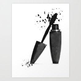 Black mascara fashion illustration Art Print