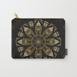 Boho chic Gold Lace Black  Flower Mandala Carry-All Pouch