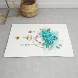 Turquoise Roses with Keys Rug