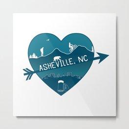Asheville, NC - AVL 8 Blue on White Metal Print