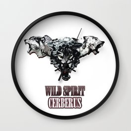 Wild Spirit Cerberus - chrome Wall Clock