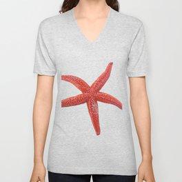 Starfish Body Fish Asteroidea Red Salty Water Echinoderm Unisex V-Neck