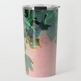Pink Green Leaves Travel Mug
