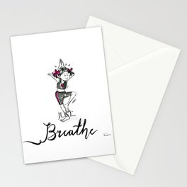 Just Breathe Yoga Art Stationery Cards