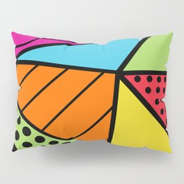 90s Geometric Fashion Pattern Background Triangle Polka Dots Bright Colors Wavy Lines and Neons Pillow Sham