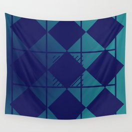 Blue,Diamond Shapes,Square Wall Tapestry