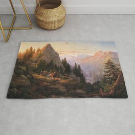 Sugar Loaf Peak El Dorado County 1865 By Thomas Hill | Reproduction Rug