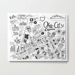 Ohio City Map Metal Print