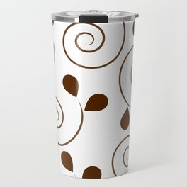 Brown Floral Swirl Pattern Travel Mug