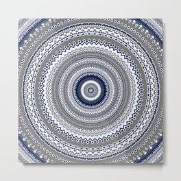 Navy Blue Grey Bohemian Mandala Metal Print