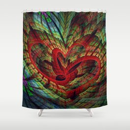 Entangled hearts, symbolic fractal abstract Shower Curtain