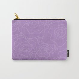 Lavender Dreams Roses - Medium with Light Outline Carry-All Pouch
