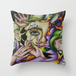 Don't See No Evil, Don't Speak No Evil, and Don't Hear No Evil Throw Pillow