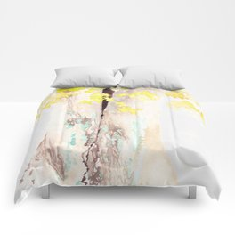 Yellow and Turquoise Watercolor Tree Comforters